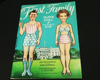 First Family Paper Doll & Cut-Out Book, Ronald and Nancy Reagan 1981