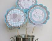 Elephant Baby Shower Centerpiece, Elephant Baby Shower Decoration, Blue & Gray Baby Shower Decor