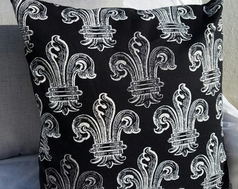 Black, Grey and White Fleur de Lis Print Cotton Pillow Cover - Various Sizes!