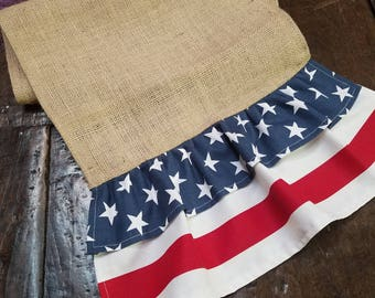 Natural Burlap Table Runner with Stars & Stripes Ruffles - Various Sizes