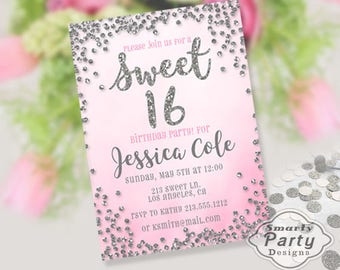Sweet 16 Sixteen Quincenera Birthday Party Invitations Invite Pink Silver Glitter Printable Personalized Customized 5x7 or 4x6