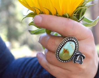 Turquoise Blooming Floral Twig Ring - Sterling Silver - Size 9 US