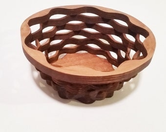 Wood Basket, Wood Basket, Easter Decoration, Wicker Style Basket, Gift Basket, Medium Basket, Scroll Saw Basket, Rustic Basket
