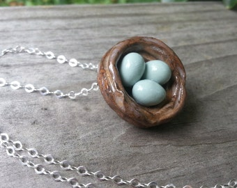 Memorial Bead Pendant or Necklace - Custom Keepsake Stoneware Pottery Pet Cremains Jewelry - FLOATING BIRD'S NEST
