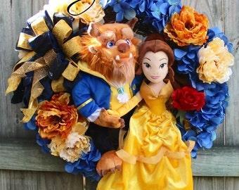 SALE - Deluxe Beauty & the Beast Wreath, Princess Belle, Disney Wreath, Everyday wreath, Nursery wreath, Disney Valentines