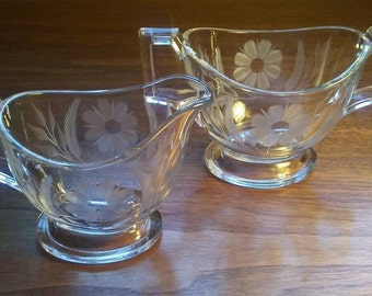 Vintage HEISEY GLASS Sugar & Creamer Set