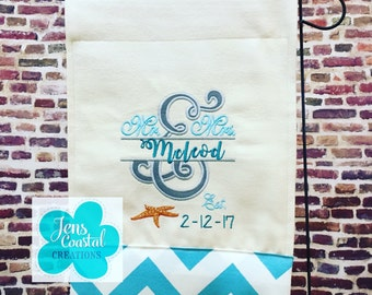 Garden Flag/Beach Decor/Beach/Beach Wedding/Decorative Flag/Banner/Beach House/Nautical/Wedding Flag/Mr & Mrs/Personalized Garden Flag
