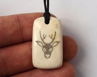 Deer head, Deer pendant, Deer necklace, Deer jewelry, Antler necklace, Antler pendant, Antler jewelry, Scrimshaw pendant, Scrimshaw jewelry