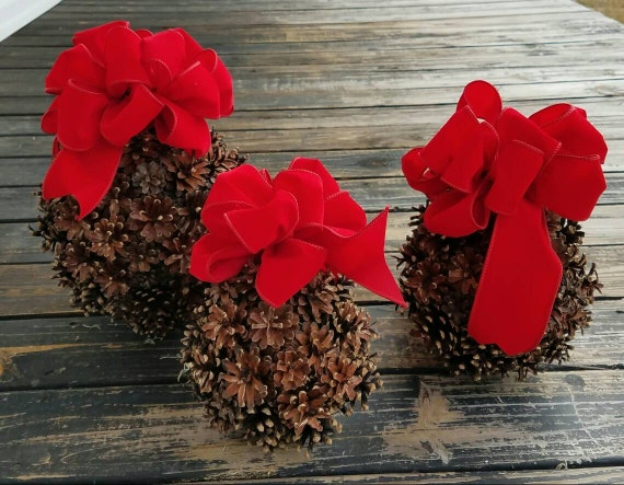 Kissing Ball, Pine Cone Kissing Ball With Red Velvet Bow, Pine Cone Christmas Ornament, Christmas Kissing Ball, Holiday Kissing Ball