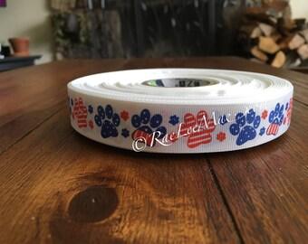 "Paw print ribbon 1"" 25mm/red, white and blue dog paw print ribbon/american flag paw print ribbon/dog rescue ribbon/animal rescue ribbon/"