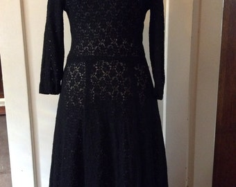 1960s Black cotton lace dress. Sz small-medium