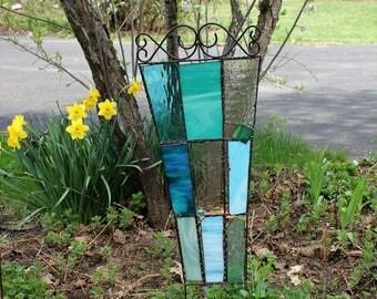 Teal Glass Garden Trellis