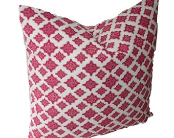 Decorative Designer Lacefield Trevi Mulberry Geometric Ikat Pillow Cover, 18x18, 20x20, 22x22 or Lumbar Throw Pillow