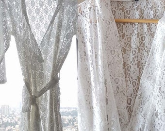 White Lace Robe Bridal Robe Robe for Bride Cotton Lace Robe