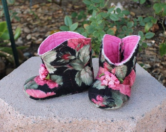 Quilted Baby Booties Flannel Infant Boots Shabby Boho Tattered 3 to 6  Month Crib Shoes
