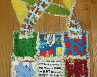 Dr. Seuss Fabric Rag Quilt Diaper Bag Tote Cat in the Hat Green Eggs and Ham Lorax