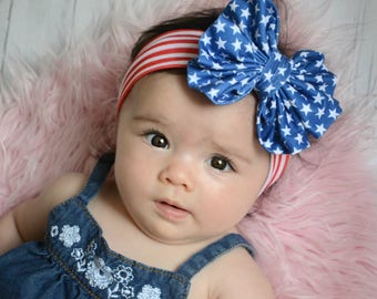 Patriotic Messy Bow head wrap,baby head wrap, bow headband, 4th of july headband, large bow headband, memorial day headband