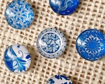 Cork Board - Push Pin, Decorative Thumbtacks, Blue, Porcelain, Thumbtack, Gem Thumbtacks, Office Decor, Cubicle Decor, Beach, Glass