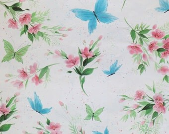 Vintage Ambassador Hallmark All-Occasion Wrapping Paper - Gift Wrap - Blue BUTTERFLIES - 1960s