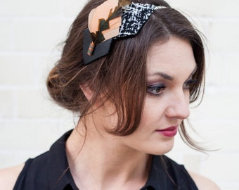 Peach, Toffee and Black Leather Feather Headband
