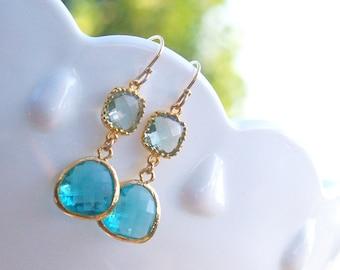 SPECIAL - Aqua Earrings - Sea Green and Aqua Dangle Earrings - Turquoise Blue Zircon on Gold Filled Earwire - Blue Drop Earrings December