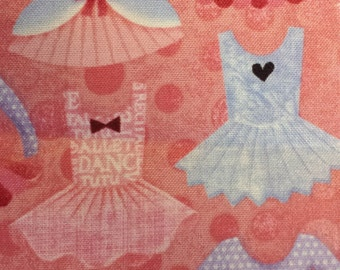 Ballerina - Tutu - Cotton Fabric BTY - 1 Yard Available - Smoke Free Home - NEW Fabric - Pink