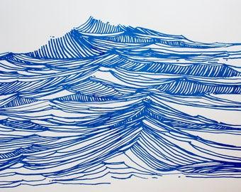 Seascape 4 Blue Screenprint