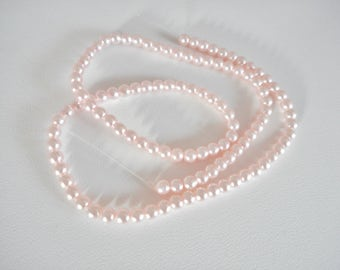 Pink Glass Pearl Beads, 4mm Pearl Beads, Bead Strand, Pink Pearl Beads, Loose Beads for Jewelry Making, Pink Beads, Round Glass Pearl Beads