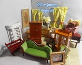 """1/12th dollhouse miniature """"Thrifty Savers"""" Furniture and Nic-naks"""