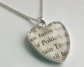 Poldark Heart Necklace Book Page Jewellery