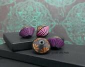 Handmade Polymer Bicone Bead Set - Pink Purple Black Bronze Floral - Bohemian Hippie Flower Bead Set - 13mm- Pkg. 4