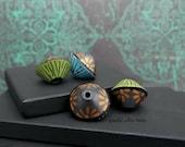 Handmade Polymer Bicone Bead Set - Turquoise Green Black Bronze Floral - Bohemian Hippie Flower Bead Set - 13mm - Pkg. 4