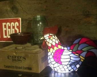 Vintage Stained Glass Tiffany Style Glass Rooster Accent Light Table Lamp Farm Decor