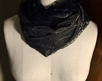 Black and Silver Double-sided Infinity Scarf