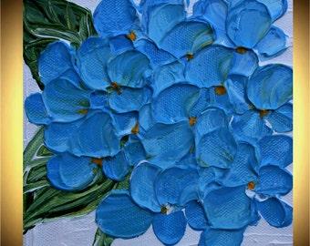 SALE  Original  Impasto  Blue Hydrangea  Flowers  Palette Knife Technique  Small Acrylic Painting.