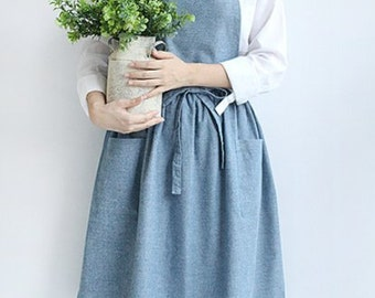 Only USA- It takes 7 days - Chef Apron Gift for Women Men Japanese Style X Shape Denim Smock Cotton Apron H:85cm -2 color