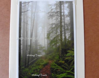 Photo Note Card- Fog On Hardesty Trail, hiking trail decor, forest path art, woodland style, forest wall art, Fine Art Photography