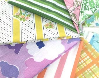 Ten vintage sheet fat quarters, bold colors