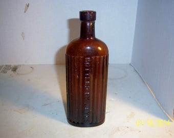 1910's Bottled by Jeyes 7 1/4  inch tall amber poison Bottle