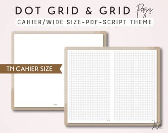 CAHIER SIZE TN Dot Grid and Grid - Printable Traveler's Notebook Insert - Script Theme