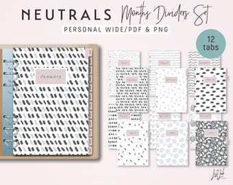 Personal Wide MONTHS Dividers Set - Printable PDF - Neutrals Theme [SALE]