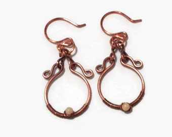 Antiqued Copper Wire Wrap Earrings with Natural Coral Beads/Copper Earrngs/ Dangle Earrings/ Wire Wrap Earrings/ Wire Wrap Jewelry