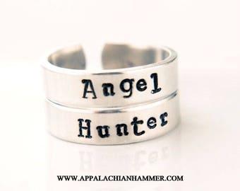 Angel or Hunter Hand Stamped Adjustable Aluminum Rings