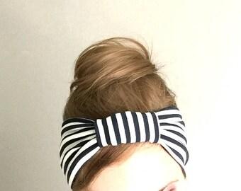 Striped headband Summer turban Yoga Headband fabric hair wrap stretchy jersey head band with knot wide headband Hair Beach accessory