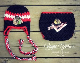 CLEARANCE!! Ready to Ship!! Handmade Newborn Blackhawks Inspired Hockey Crochet Earflap Hat with Patch and Matching Diaper Cover