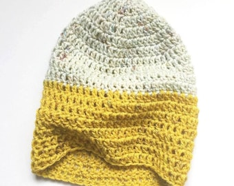 THE Crafter's Slouchy // Crocheted Slouchy Hat // Yellow and White // Accessories // Handmade Knitwear