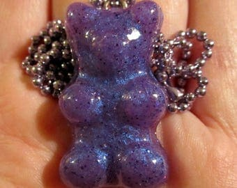 Purple Gummy Bear Necklace-Purple / Blue Colorshift-Kawaii Gummy Candy-Handmade Resin Pendant Jewelry