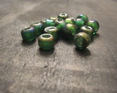 9mm Translucent Dark Green Glass Crow Beads ~ one package of 50 pieces