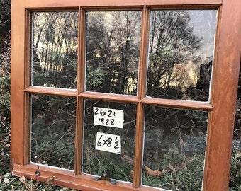 24 x 21 Vintage Window sash old 6 pane  frame from 1928 Arts& Crafts