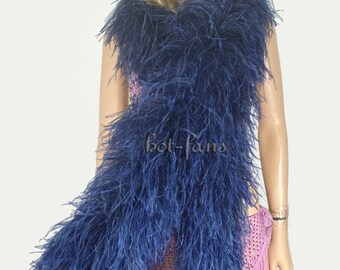 """71"""" (180cm ) long Luxury navy Ostrich  Feather Boa costume fluffy 12 plys"""